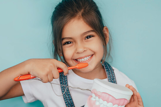 A pediatric dental patient smiles and holds a model of teeth and a toothbrush